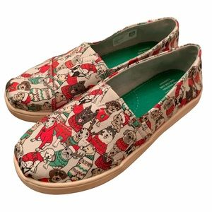 TOMS Christmas Dog Sweater Flats Size Youth 2